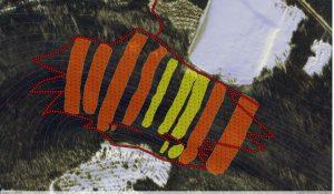 Le scénario de développement des pistes vue d'en haut. Un dessin de Bruno Béliveau, ingénieur forestier.